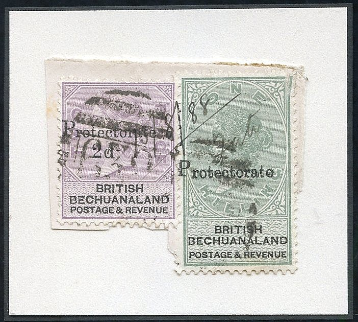 1888 Bechuanaland 2d on 2d lilac & black (SG.42) and 1s green & b