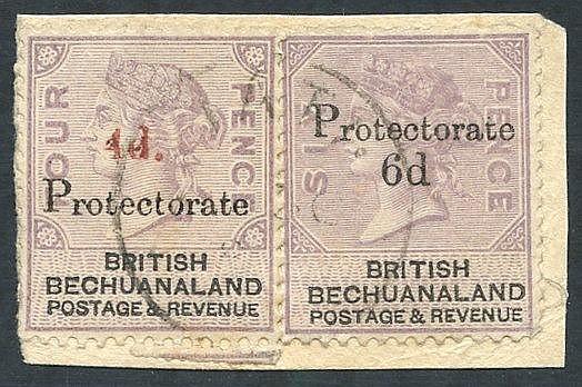 1888 Bechuanaland 4d on 4d lilac & black (SG.44) & 6d on 6d lilac