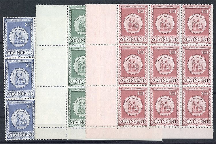 1980 Stamps Duty Revenues, $5, $10 & $20 each UM BLOCK OF NINE (2