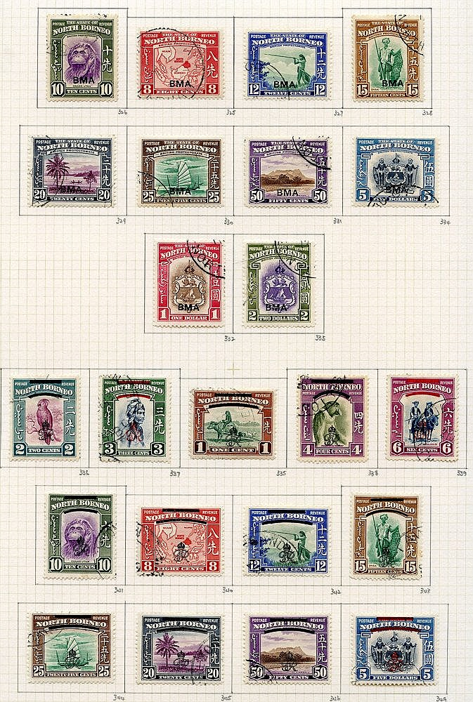 1939-50 collection U on philatelic leaves, 1939 set (£5 has wrink