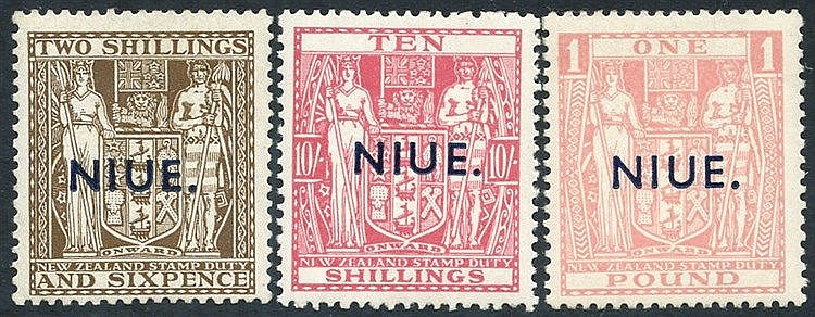 1941-67 Postal Fiscals 2/6d , 10s & £1, fine M, SG.79, 81/2. (3)