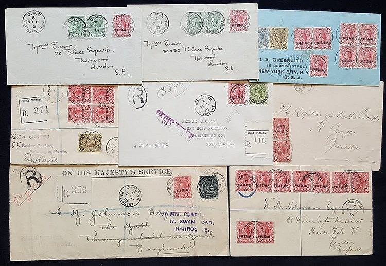 1916 range of covers addressed to England, USA & Nova Scotia, all