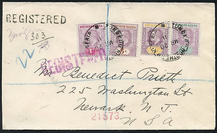 1911 (20 Mar) envelope reg to USA bearing KEVII ½d, 1d, 2d & 5d,