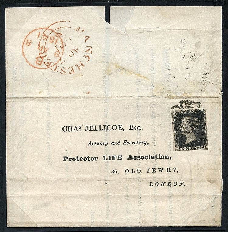 1841 April 7th cover from Manchester to London, franked Pl.9 LF,