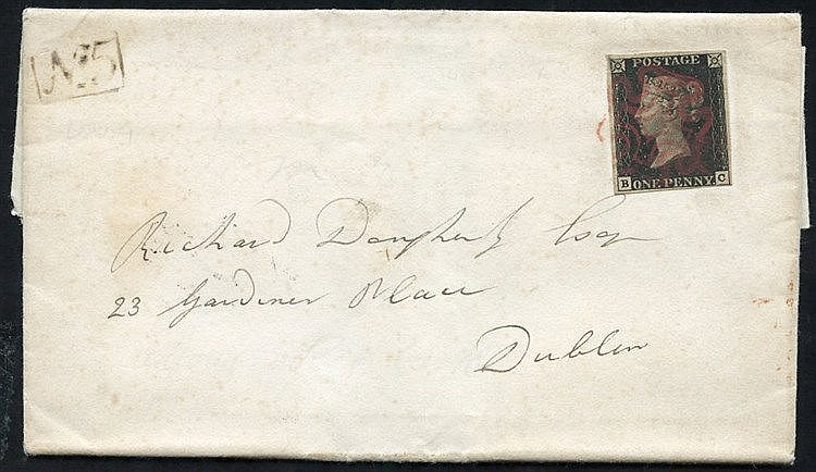 1841 entire letter from Derry to Dublin franked Pl. 8 BC four goo