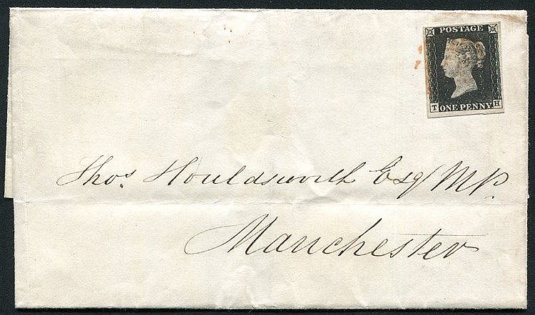1840 Dec 10th cover from Glasgow to Manchester, franked Pl.4 TH,