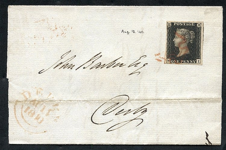 1840 Aug 11th cover from London to Derby, franked Pl.5 MI, good t