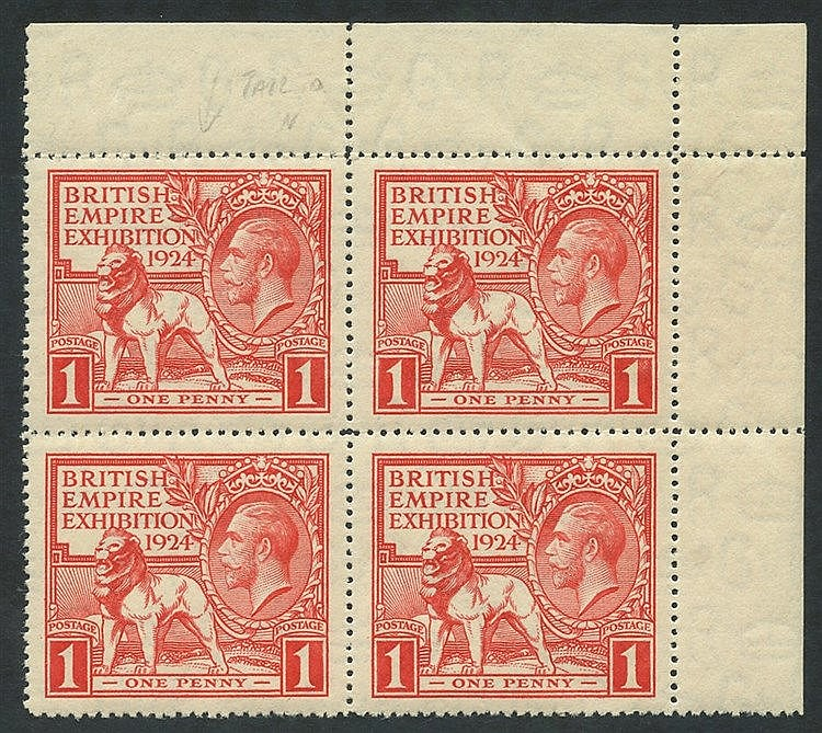 1924 Wembley 1d, UM corner marginal block of four incl. variety '