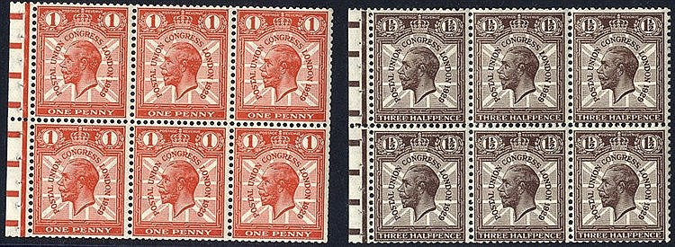 1929 PUC 1d & 1½d booklet pane of six with binding margin attache