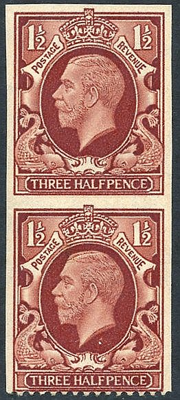 1934 Photogravure 1½d red brown IMPERFORATE THREE SIDES - vertica