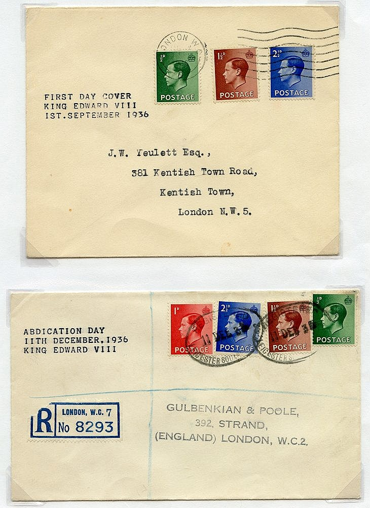 1936-72 KEVIII covers (5) comprising first day for ½d, 1½d & 2 ½d