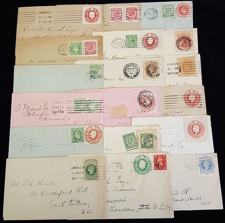 1905-38 selection of 24 envelopes bearing stationery cut-outs com