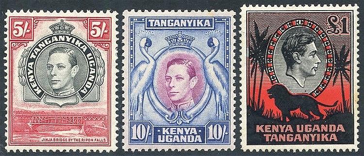 1938-54 5s, 10s & £1, SG.148b, SG.149, SG.150a. (3) Cat. £230