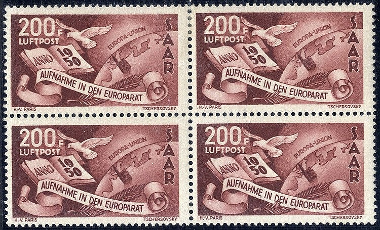 1950 Council of Europe Air 200f block of four, superb fresh M (tw