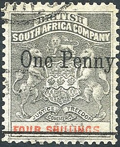 1896 BYO Provs 1d on 4s with single bar through original value, S