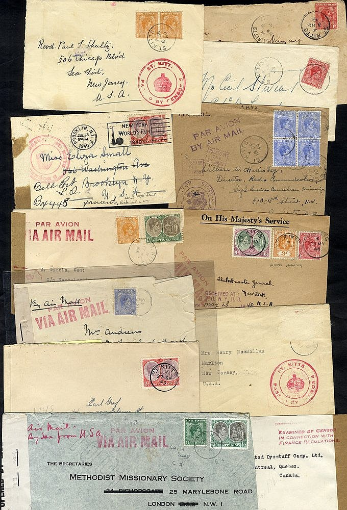 WWII various censored covers incl. double ring CROWN/ST. KITTS/PA