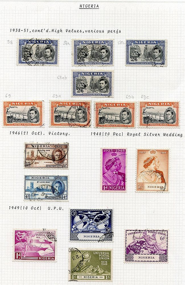 1937-49 KGVI collection VFU incl. 1938 vals to 5s (4), 1948 Weddi