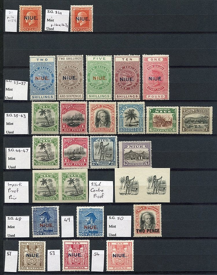 Collection on double sided stock leaves with 1902 2½d, P.14 ½d (2