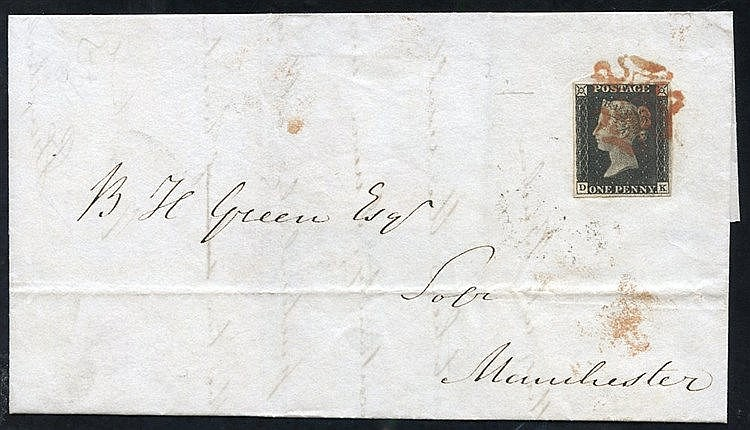 1840 Nov 17th cover from Preston to Manchester franked Pl. 2 DK f