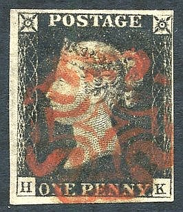 Plate 1b HK, clear to large margins, fine red MC. (1)