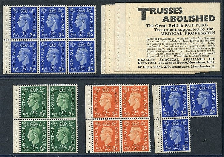 1937 Dark Colours 2½d booklet pane of six, UM with binding margin