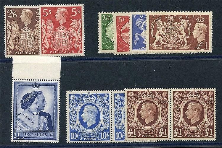 1939 2/6d brown & 5s UM, 10s ultramarine & £1 (UM pairs), 1948 £1
