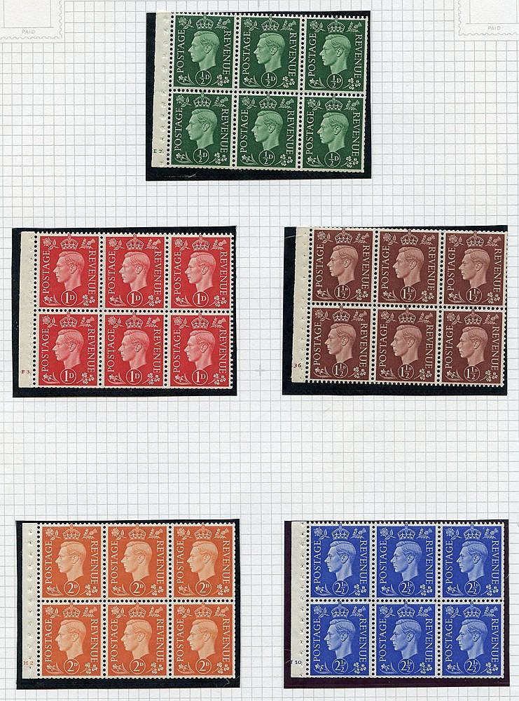 1937-50 BOOKLET PANES M or UM range in black mounts on leaves inc