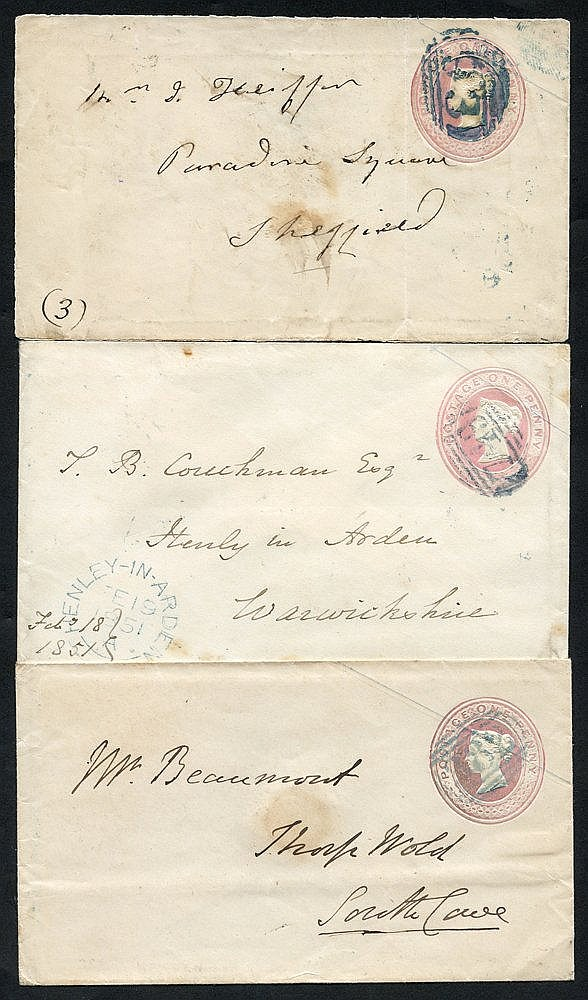 1844-51 three 1d pink envelopes showing blue 1844 numeral postmar