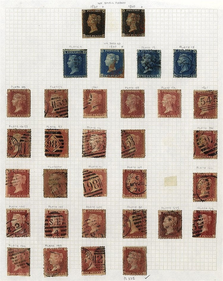 1840-1970 COLLECTION of 928 stamps U incl. 1840 1d (2), 2d, 1d Pl