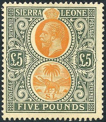 1912-21 MCCA £5 orange & green, fine M, SG.130, RARE. (1) Cat. £3
