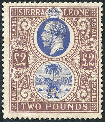 1923 MSCA £2 blue & dull purple, M (odd blunt perf at right side)