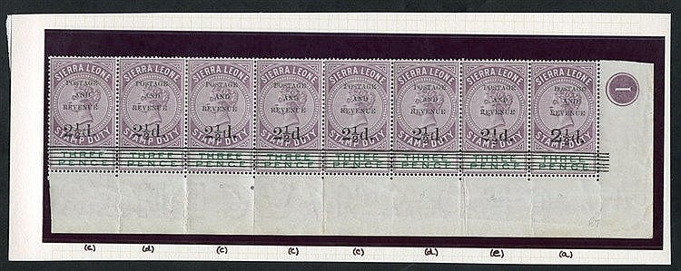1897 2½d on 3d dull purple & green lower right corner marginal st