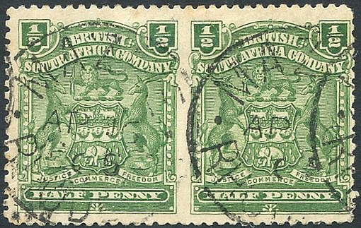 1898-1908 ½d dull bluish green FU, MAZOE horizontal pair IMPERF B