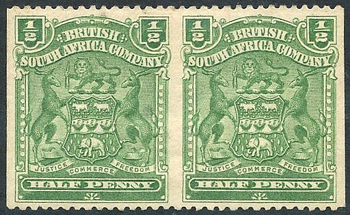 1898-1908 ½d heavily hinged M horizontal pair IMPERF VERTICALLY (
