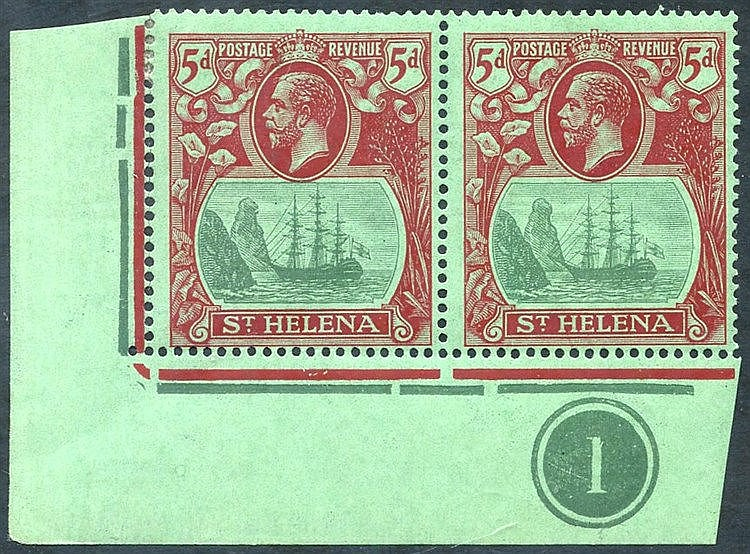 1922-37 MSCA 5d corner marginal M plate number pair incl. 'cleft