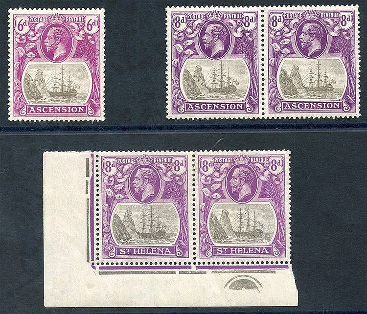 1922-37 MSCA 8d corner marginal M plate pair incl. variety 'cleft