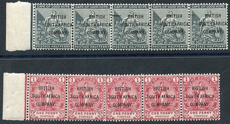 1896 C.O.G.H ovpts ½d & 1d, UM strips of five, ½d strip separated