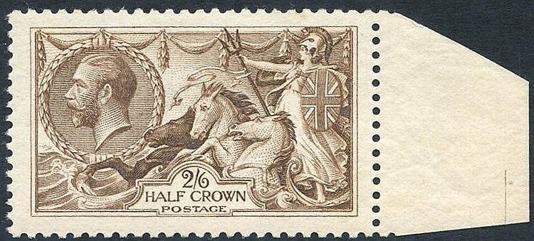 1918 Bradbury 2/6d pale brown, fine UM marginal example, SG.415a.