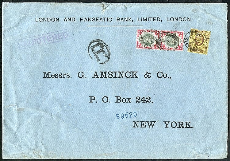 UNITED STATES 1905 reg cover from London to New York, franked KEV