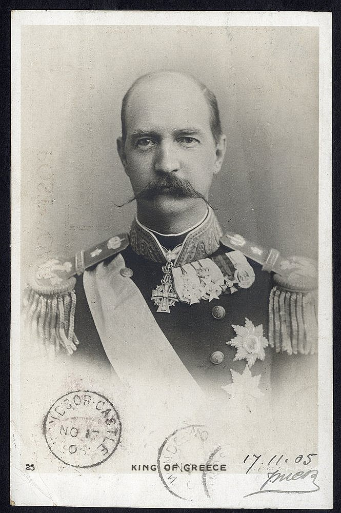1905 PPC showing the King of Greece during his visit to England (