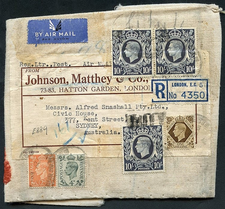 AUSTRALIA c1939 cloth outer wrapping from Johnson Matthey reg fro
