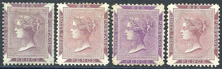 1859-74 no wmk 6d dull purple, 6d grey-lilac, 6d reddish violet (