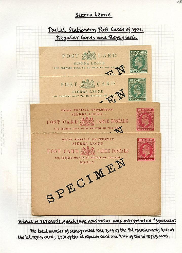 POSTAL STATIONERY collection comprising cards with 1881-83 1d ovp
