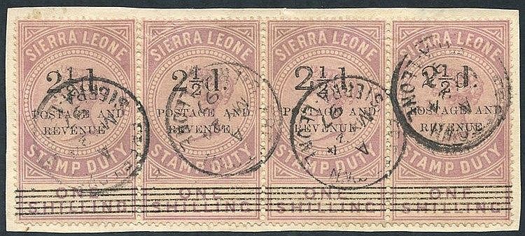 1897 2½d on 1s dull lilac horizontal strip of four on piece showi