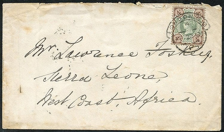 1891 (23 Feb) env from London to Sierra Leone, bearing 1887 4d ti
