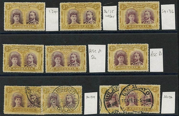 1910-13 3d Double Heads selection of 10 incl. SG.134,135 & 136 M,