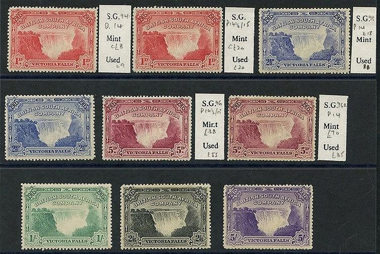 1905 Victoria Falls set, M comprising 1d (both perfs), 2½d (P.1)