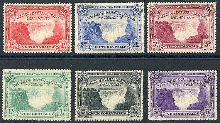1905 Victoria Falls set, fine M (odd perf fault), SG.94/9. (6) Ca