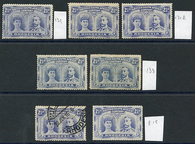 1910-13 2½d Double Heads, M (6) & U (1) incl. one Perf 15, fine M