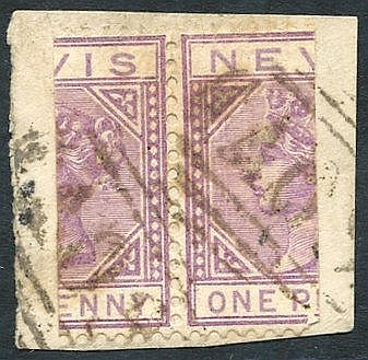 NEVIS 1882-90 1d lilac-mauve, pair bisected (cut at left & right)